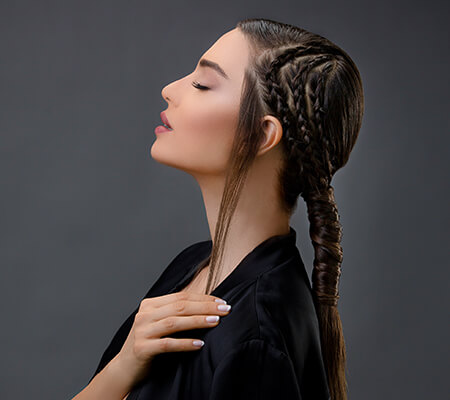 African braid style with a sleek pony tail