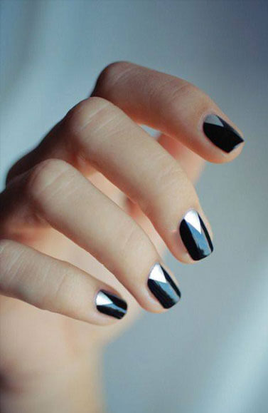 elegant, black painted nails